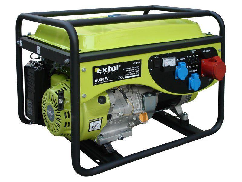 421028 - 6 kW EXTOL CRAFT jednofázová elektrocentrála benzínová
